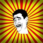 Mem przedstawia uśmiechniętą twarz byłego Chińskiego koszykarza o nazwie Yao Ming, który śmieje się z problemów dzisiejszego świata.
